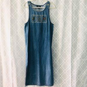 TY Original Wear Embroidered Denim Dress Size 10P